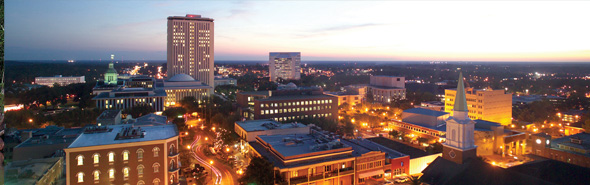 Downtown Tallahassee at dusk.